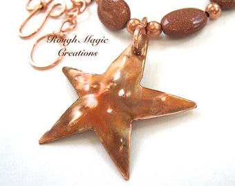 Rustic Copper Starfish Pendant Necklace, Goldstone Gemstones, Copper Chain, Beach Theme Gift for Women, Anniversary Present for Wife N279