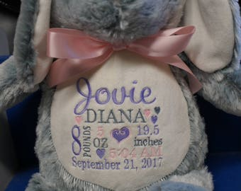 Personalized baby gift, Bunny, Stuffed animal keepsake with machine embroidery, Baptism gift, Memorial gift,  Personalized keepsake
