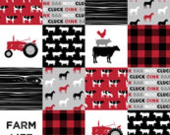 Farm Life Patchwork Print Minky Blanket or Quilt