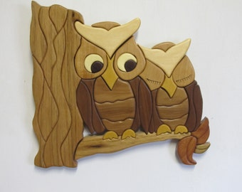 Intarsia owl couple on a branch