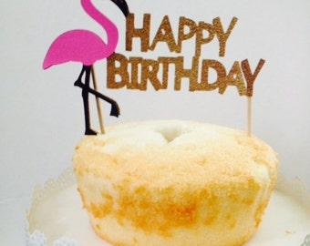 Flamingo Happy Birthday Cake Topper