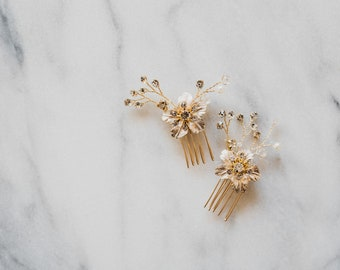 Crystal Hair Pin | Gold Flower Hair Comb | Gold Bridal Hair Pins | Gold Bridal Hair Comb | Set of Hair Pins | Set of Hair Combs | Zinnia