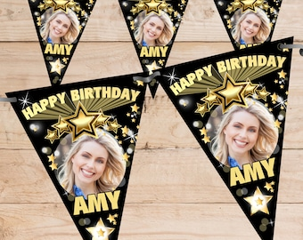 Personalised Happy Birthday PHOTO Flag Banner Bunting with ribbon N68 (10 Flags ) Black Gold Hanging Decoration 18th 21st 30th 40th Any Age