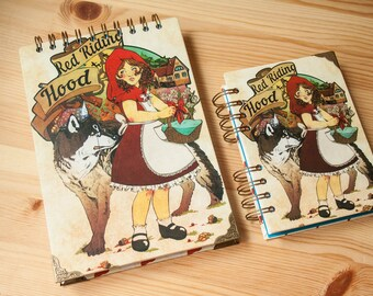 "NOTEBOOK ""Red Riding  Hood"" fantasy colour pages, white pages , for drawing, witch, sketchbook, big, pink, notebook, perfect gift"