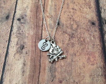 Campfire initial necklace - campfire jewelry, camping jewelry, gift for camper, summer camp necklace, silver campfire necklace