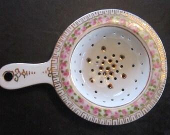 porcelain tea strainer pink floral sweet