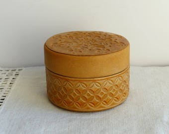 Leather Jewelry Box Vintage leather Box / Round Jewelry box / Ornate leather Box / Ornate Treasure box / trinket box Tooled Jewelry Box