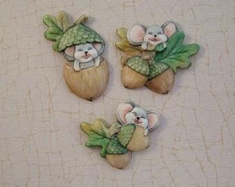 Mice and Acorns Embellishment set of 3