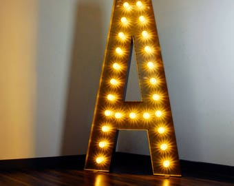 "Massive 2m / 6' 6"" Tall Marquee Letter Light with Carnival Light Caps - Painted"