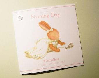 Personalised Naming Day/Christening/Baptism Bella Bunny Card -Bobby Bunny and Friends Illustrated Luxury Card Range by Jennifer Keelan