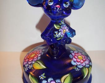Fenton Glass OOAK Cobalt Blue Colorful Posies Mouse on Font by Sunday Davis