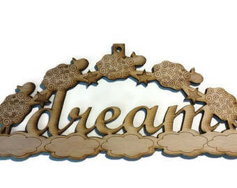 Wood Laser Cut Engraved Etched Dream Counting Sheep Wall Art Sign - Child Children Room Nursery Decor