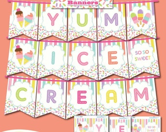 Ice Cream Bar Banners -Yum-Ice Cream-Printable Ice Cream Party Banners-Ice Cream First Birthday-Popsicle Party-Summer Ice Cream Birthday