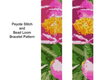Bracelet Pattern for Peyote Stitch and Loom Weaving - Peony Flowers - Peyote Stitch Bracelet Pattern or Bead Loom Bracelet Pattern