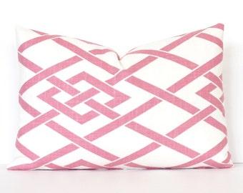 Pale Pink Lattice Designer Pillow Cover modern accent cushion trellis hollywood regency geometric blossom light blush Pantone rose quartz