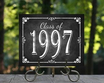 Class of 1997 Reunion Printable Chalkboard Design, Class Reunion Decorations, Printable Chalkboard Sign, Party Decor, Reunion Decor, DIY
