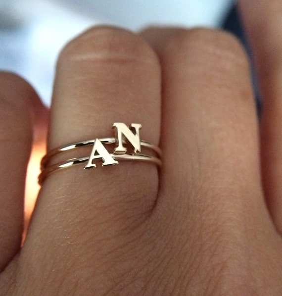 Finest 14k solid gold initial ring stackable ring name ring SD95