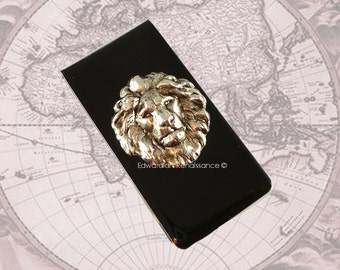 Silver Lion Money Clip Inlaid in Hand Painted Black Enamel Neo Victorian Safari Vintage Style Leo with Personalized and Color Options