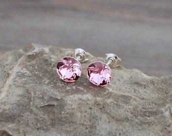 Light Pink Swarovski Crystal Studs; Sterling Silver Posts; Lightweight; Hypoallergenic; 8mm Round; Minimalist Light Rose Crystal Stud