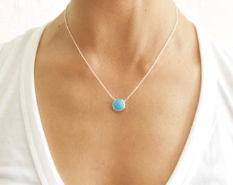 Turquoise  Silver Necklace - Pendant Necklace - Turquoise Necklace - Turquoise Jewelry
