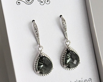 Grey Bridesmaid Earrings, Grey Bridesmaid Jewelry, Grey Bridesmaid Gift, Grey Earrings, Grey Drop Earrings, Grey Dangle Earrings, Grey Prom