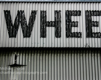 retro industrial sign advertising typography old metal shabby man cave grunge decor print fine art photography