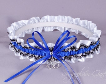 Thin Blue Line Police Officer Lace Bridal Garter