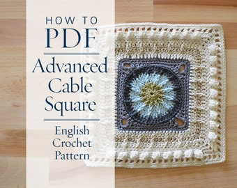 diy PDF English Crochet Pattern Advanced Cable Square step by step pattern - ready for immediate download - by CrochetObjet