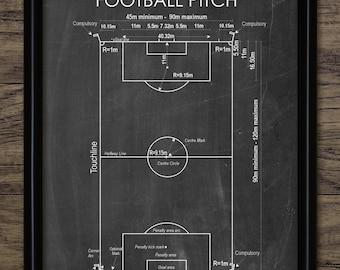 Vintage Football Field Print American
