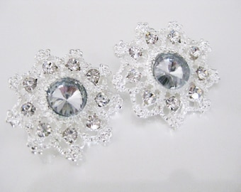9PC Rhinestone Crystal Buttons, Bridal Jewelry Supplies (1807)