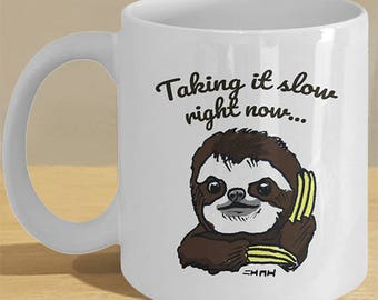 Funny sloth retirement gifts for men,  women / Sloth present printed gift mug / Hand illustrated sloth art