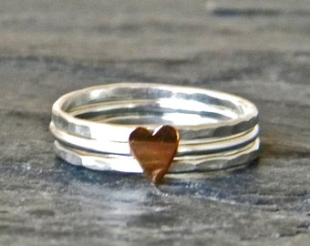 Jewelry for Love - Sterling Silver Heart Ring - Tiny Heart Ring - Gift of Love - Heart Jewelry - Heart Stacking Ring - Love Jewelry Heart