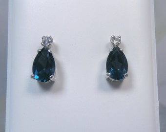 TOPAZ - London Blue Topaz with White Topaz Accent Sterling Silver Stud Earrings!
