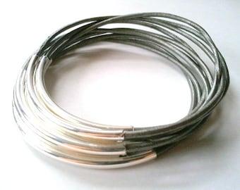 Leather Bracelet - Leather Bangle - Gray Bangle - Gray Leather Bracelet - Boho Bracelet - Boho Leather Bracelet - Boho Stackable Bracelets