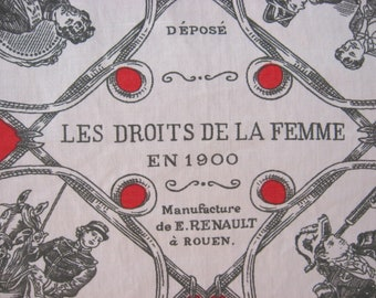 French Womens Rights in 1900s Scarf.  Renault of Rouen France original art print large neck wrap. Unique female feminist Francophile gift.