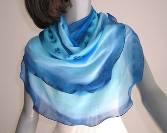 Hand Painted Scarf, Light Blue Wrap, Turquoise Blue Wrap, Ultramarine Blue, Unique Hand Dyed, Ocean Color, One of a kind, Handmade, Jossiani