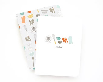 Pocket Journal Set of 2 | Illustrated Small Notebooks with Lined Pages: Baker's Notes Pocket Journal Set