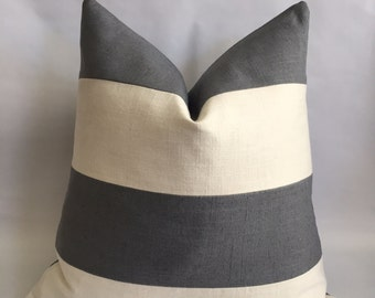 Cream And Charcoal Gray Linen/Cotton Fabric Striped Pillow Cover