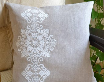Natural linen pillow cover, decorative pillow, embroidered pillow cover, ukrainian embroidery
