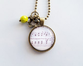 Music Necklace - We'll Sing And Shout The Victory - You Choose Bead, Charm - Inspirational Jewelry - Music Pendant - Church Hymn - Custom