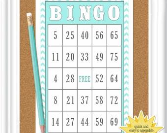 16 card BINGO game, birthday bingo with aqua and white chevrons, Instant Download party bingo game, (020)