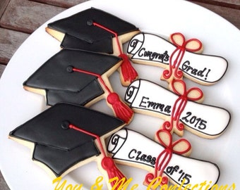Cap and Scroll Graduation Hand Decorated Cookies - 1 dozen