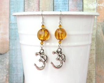 Ohm Earrings, Yoga Jewelry, Hippie Earrings, Boho Earrings, Ethnic Earrings, Long Earrings, Boho Jewelry, Beaded Earrings, Chakra Jewelry