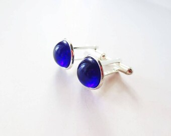 Cobalt blue cuff links. 12mm cuff links. Blue glass cuff links. Silver cuff links. French cuff shirt.  Mens accessory. Women cuff links.