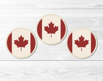 Canadian Round Labels -- Canada, Canadian Flag, Maple Leaf, Red and White, Canada Day, July 1st, Cupcake Topper, Printable, Instant Download
