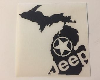 Michigan state shape JEEP star decal love sticker jk cj yj tj xj-1 xj-2 zj wj wrangler cherokee custom liberty patriot commander