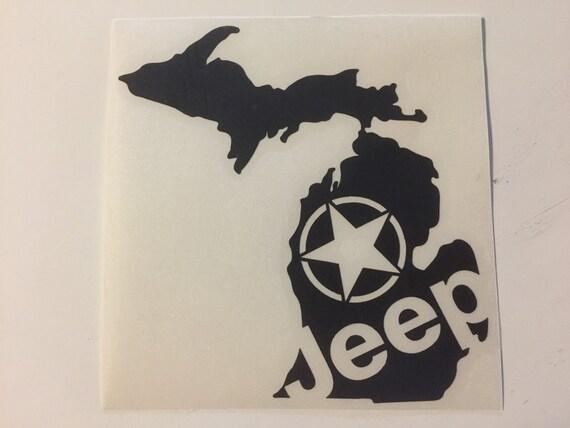 Michigan state shape jeep star decal love sticker jk cj yj tj