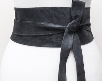 Dark Grey Suede Obi Belt | Waist Belt | Suede Tie Belt | Real Suede Leather Belt| Handmade Belt | Plus size belts