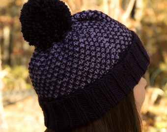 Purple & Lilac Winter Beanie - Hand Knit Large Hat with Pom Pom - Purple Pom Pom Hat - Women's Machine Washable Non Wool Hat