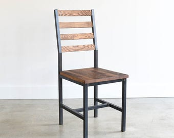 Dining Chair / Industrial Steel + Reclaimed Wood Chair